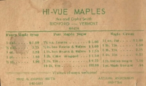 Old maple syrup price list